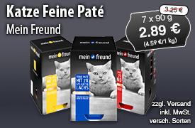 Angebot: Mein Freund Katze Feine Pate, 7 x 90 g, Angebotspreis: 2,89 Euro, Streichpreis: 3,25 Euro, zzgl. Versand, inkl. MwSt., versch. Sorten - zum Bestellen hier klicken
