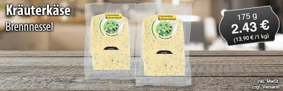 Kraeuterkaese Brennnessel, 175 g, Preis: 2,43 Euro, zzgl. Versand, inkl. MwSt. - zum Bestellen hier klicken