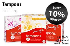 Angebot: Sparen Sie 10 Prozent auf Jeden Tag Tampons - zum Bestellen hier klicken