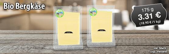 Bio Bergkaese, 175 g, Preis: 3,31 Euro, zzgl. Versand, inkl. MwSt. - zum Bestellen hier klicken
