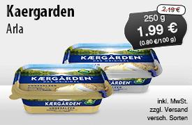 Angebot: Arla Kaergarden, 250 g, Angebotspreis: 1,99 Euro, Streichpreis: 2,19 Euro, zzgl. Versand, inkl. MwSt., versch. Sorten - zum Bestellen hier klicken