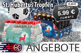 Angebot: St. Hubertus Tropfen, 24 x 0,02 L, Angebotspreis: 5,99 Euro, Streichpreis: 6,49 Euro,zzgl. Versand, inkl. MwSt., versch. Sorten - Zum Bestellen hier klicken!