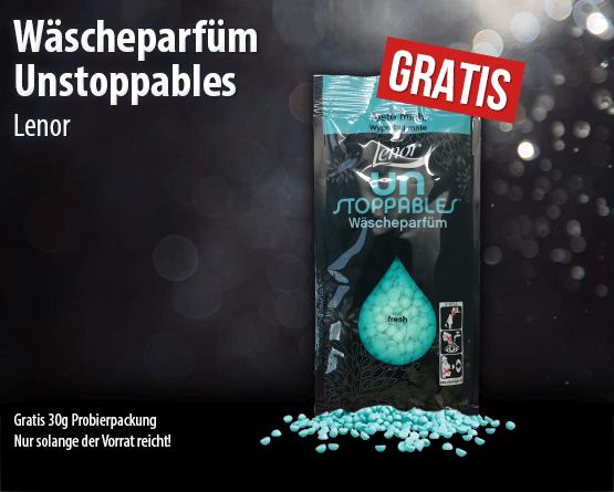 Zugabe: Lenor Unstoppables Waescheparfuem gratis 30g Probierpackung. - Zum Bestellen hier klicken