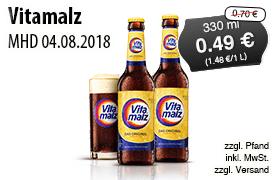 Angebot: Vitamalz MHD 04.08.2018, 330 ml, Angebotspreis: 0,49 Euro, Streichpreis: 0,70 Euro, zzgl. Versand, inkl. MwSt.  - Zum Bestellen hier klicken