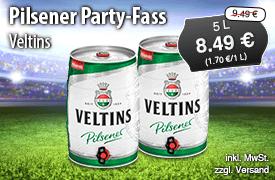 Angebot: Veltins Pilsener Party Fass, 5 L, Angebotspreis: 8,49 Euro, Streichpreis: 9,49 Euro, zzgl. Versand, inkl. MwSt. - Zum Bestellen hier klicken!
