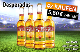 Angebot: Kaufe 4 Desperados Bier + Tequila und zahle nur 5,80 Euro - Zum Bestellen hier klicken!