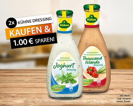 Angebot: 2 mal Kuehne Dressing kaufen und 1 Euro sparen - Zum Bestellen hier klicken