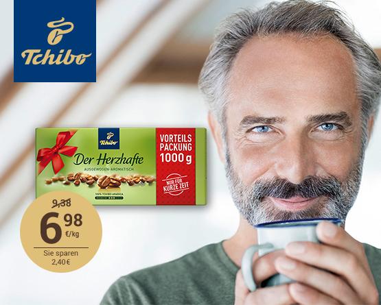 Angebot: Tchibo der Herzhafte 2 + 2 Aktion, Angebotspreis: 6,98 Euro, Streichpreis: 9,98 Euro, zzgl. Versand, inkl. MwSt., ab 25.06.2018 - Zum Bestellen hier klicken