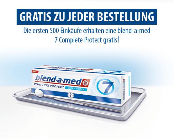 Zugabe: Gratis zu jeder Bestellung. Die ersten 500 Einkaeufe erhalten einen blend-a-med7 Complete Protec gratis! - Zum Bestellen hier klicken
