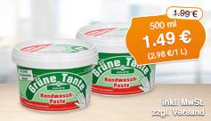 Angebot: Gruene Tante Handwaschpaste, 500 ml, Angebotspreis: 1,49 Euro, Streichpreis: 1,99 Euro, zzgl. Versand, inkl. MwSt. - Zum Bestellen hier klicken