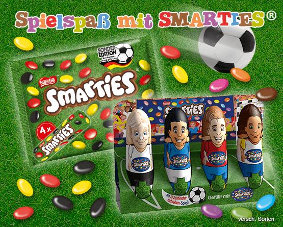 Angebot: Spielspass mit Smarties. Fussballer Hohlfiguren gefuellt mit schwarz-rot-gelben Minilinsen - Zum Bestellen hier klicken