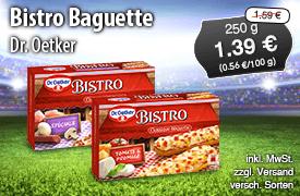 Angebot: Dr Oetker Bistro Baguette, 250 g, Angebotspreis: 1,39 Euro, Streichpreis: 1,59 Euro, zzgl. Versand, inkl. MwSt., versch. Sorten - Zum Bestellen hier klicken!