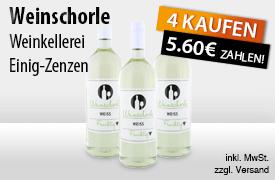 Angebot: Kaufen Sie 4 Weinkellerei Einig Zenzen Weinschorle weiss fruchtig und zahlen Sie nur 5,60 Euro - zum Bestellen hier klicken