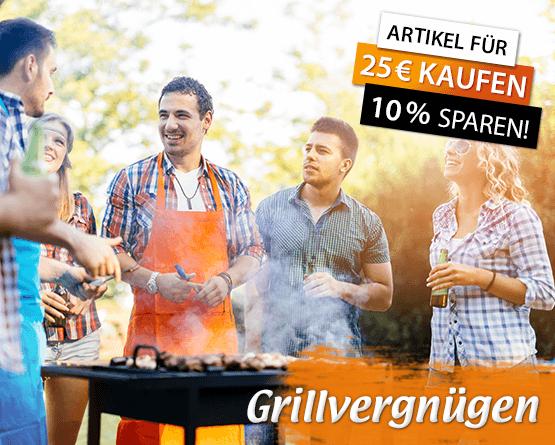 Grillvergnuegen: Artikel fuer 25 Euro kaufen und 10 Prozent sparen