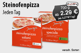 Angebot: Jeden Tag Steinofenpizza, 700 g, Angebotspreis: 2,49 Euro, Streichpreis: 2,89 Euro, zzgl. Versand, inkl. MwSt., versch. Sorten - zum Bestellen hier klicken