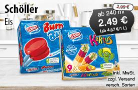 Angebot: Schoeller Eis, ab 240 ml , Angebotspreis: 2,49 Euro, Streichpreis: 2,99 Euro, zzgl. Versand, inkl. MwSt., versch. Sorten - Zum Bestellen hier klicken