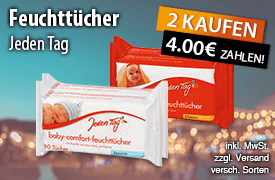 Angebot: Kaufen Sie 2 Jeden Tag Baby Comfort Feuchttuecher und zahlen Sie nur 4,00 Euro - Zum Bestellen hier klicken