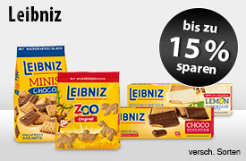 Angebot: Sparen Sie bis zu 15 Prozent auf Leibniz Kekse - zum Bestellen hier klicken