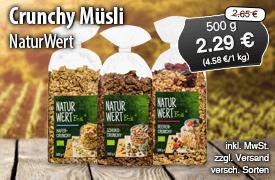 Angebot: Naturwert Bio Crunchy Muesli, 500 g, Angebotspreis: 2,29 Euro, Streichpreis: 2,65 Euro, zzgl. Versand, inkl. MwSt., versch. Sorten - zum Bestellen hier klicken