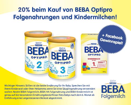 Angebot: Sparen Sie 20 Prozent auf Beba Optipro Folgenahrung und Kindermilchen. Desweiteren haben Sie die Chance auf 1 von 5 Klanghoelzern - Zum Teilnehmen hier klicken