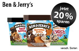 Angebot: Sparen Sie 20 Prozent auf Ben und Jerrys Eis - Zum Bestellen hier klicken