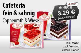 Angebot: Coppenrath und Wiese Cafeteria fein und sahnig, ab 450 g, Angebotspreis: 3,29 Euro, Streichpreis: 3,79 Euro, zzgl. Versand, inkl. MwSt., versch. Sorten - zum Bestellen hier klicken