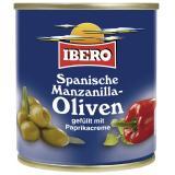 Ibero Spanische grüne Manzanilla Oliven gefüllt mit Paprikacreme