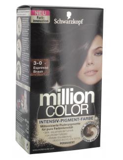 Schwarzkopf Million Color Intensiv-Pigment-Farbe 3-0 espresso braun (126 ml) - 4015000996747