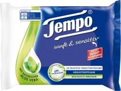 Tempo Feuchte Toilettentücher sanft & sensitiv mit Aloe Vera (42 St.) - 7322540431582