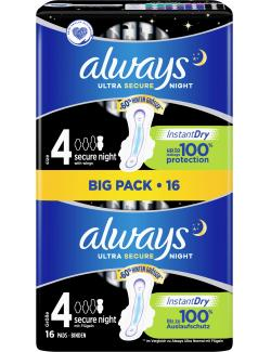 Always Ultra Secure Night Instant Dry