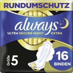 Always Ultra Damenbinden Secure Night Extra (Größe 5) Mit Flügeln
