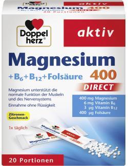 Doppelherz aktiv Magnesium 400 + B6 + B12 + Folsäure Direct Beutel (20 St.) - 4009932001990