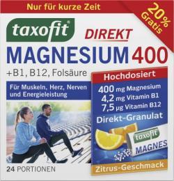 Taxofit Magnesium 400 +B1 + B12 + Folsäure Direkt-Granulat