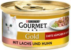 Gourmet Gold Zarte Häppchen in Sauce mit Lachs & Huhn