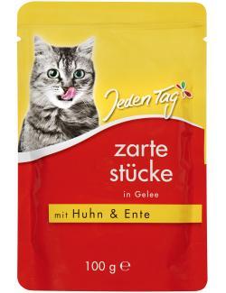 Jeden Tag Zarte Stücke in Gelee mit Huhn & Ente (100 g) - 4306180182137