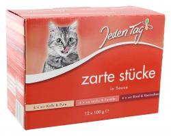 Jeden Tag Zarte Stücke in Sauce Multipack (12 x 100 g) - 4306180182311