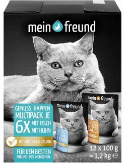 Mein Freund Katze Genuss Happen Multipack Fisch und Huhn (12 x 100 g) - 4306188302636