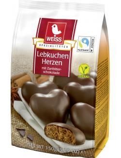 Weiss Lebkuchen Herzen mit Zartbitter-Schokolade