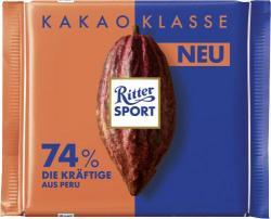Ritter Sport Kakao Klasse 74% Die Kräftige aus Peru