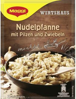 Maggi Wirtshaus Nudelpfanne mit Pilzen und Zwiebeln, Beutel, ergibt 2 Port. (164 g) - 4005500339052