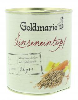 Goldmarie Linseneintopf mit Würstchenscheiben