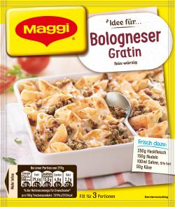 Maggi Fix für Bologneser-Gratin