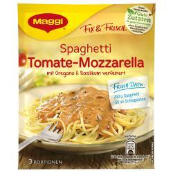 Maggi fix & frisch, Spaghetti Tomate-Mozzarella, Beutel, ergibt 3 Port. (40 g) - 7613030711353