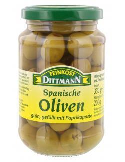 Feinkost Dittmann Spanische grüne Oliven gefüllt mit Paprikapaste (200 g) - 4002239431507