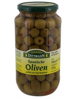Feinkost Dittmann Spanische grüne Oliven gefüllt mit Paprikapaste (550 g) - 4002239438001