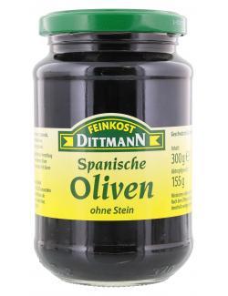 Feinkost Dittmann Spanische geschwärzte Oliven ohne Stein (155 g) - 4002239420907