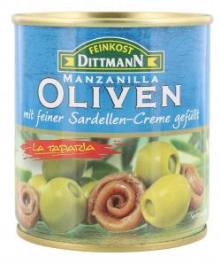 Feinkost Dittmann Spanische grüne Oliven gefüllt mit Sardellen-Creme (85 g) - 4002239422703