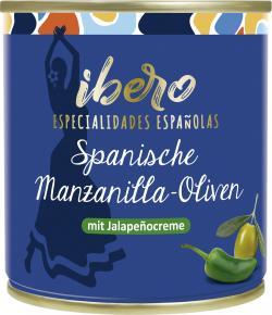 Ibero Spanische grüne Manzanilla Oliven gefüllt mit Jalapeñocreme