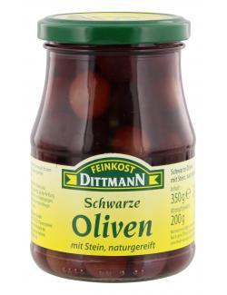 Feinkost Dittmann Schwarze Oliven mit Stein naturgereift (200 g) - 4002239407007