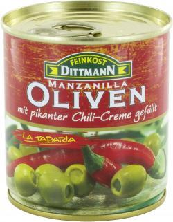 Feinkost Dittmann Spanische grüne Oliven gefüllt mit Chili-Creme (85 g) - 4002239422604